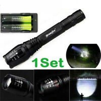 Charger ty 2set 90000LM Tactical LED Flashlight Zoomable Torch 3Mode Light