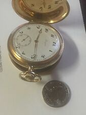 longines pocket watch 14k solid gold hunter case clean with 18k chain