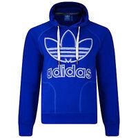 Mens New Adidas Originals Logo Hoodie Hoody Hooded Sweatshirt Jumper Top - Blue
