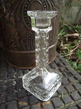 Candlestick - Art Deco Clear Glass- Czech ? German ? Tall - Vintage
