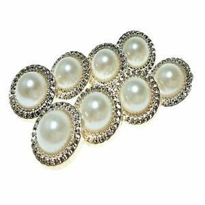Pearl Design Shank Style Buttons 10pcs Set Plastic Materials Round Shaped Button