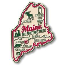 Maine the Pine Tree State Deluxe Map Fridge Magnet