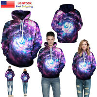 Women/Men Sweatshirts Couple Hoodie 3D Starry Sky Galaxy Hooded Pullover Jacket