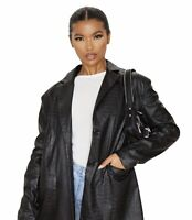 Pretty Little Thing Black Faux Leather Croc Oversized Dad Blazer Size 4 NWT