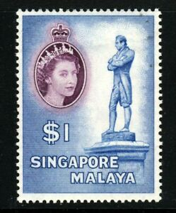 SINGAPORE Queen Elizabeth II 1955 $1 Arms of Singapore Issue SG 50 MINT