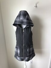 Atos Lombardini Womens Vest Black Gray Hooded Women's Size 42 US Size 6 Plaid