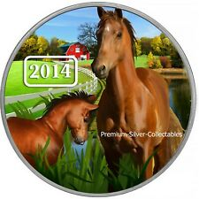 2014 Tokelau Zodiac Year of the Horse -  1 Ounce Pure Silver Colorized Coin!