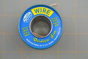 Model Power Rainbow Line USA Made Vintage Metal Wire Spool Blue Electrical Cord