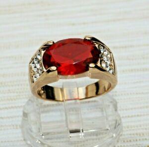 Brillanter Rubin Granat rot Herren Damen Ring Gold 14K GP 585er vergoldet