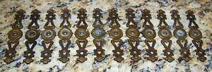 12 Ornate Antique Brass Backplates For Cabinet Door & Drawer Pulls Knobs Handles