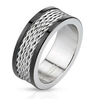 Men's 8mm Wedding Band Stainless Steel Wire Inlay Duo Tone Black IP Edegs Ring