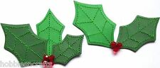 EK SUCCESS JOLEE'S BY YOU 3-D EMBELLISHMENTS - CHRISTMAS - 2 HOLLY WITH BERRIES