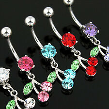 14G Navel Belly Button Curved Barbell Ring Bar Cherry With CZ Gems 316L Blue Z