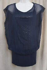 B44 Dress Sz XS Navy Blue Sheer Sequined Martini Dress Cocktail Party Outing
