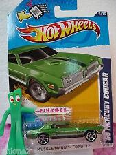 2012 Hot Wheels '68 MERCURY COUGAR #119☆Kmart Excl HUNTER GREEN☆Muscle