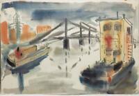 Vintage Watercolor Painting Bridge Scene circa 1959-1960