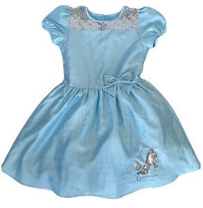 Disney GIRLS CINDERELLA Party DRESS L Silver Sequin SLIPPER Large PRINCESS Blue