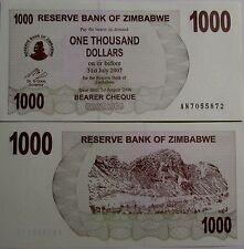 """BILLETE """"  ZIMBABWE   1000   DOLARES   AÑO  2007   PLANCHA    UNC"""