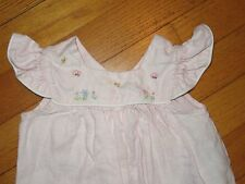 Remember Nguyen Embroidered Linen Flutter Sleeve Bubble Romper Size 6 Months