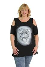 Ladies Cold Shoulder Jersey Leopard Print Face Loose New Plus Size Top Tunic