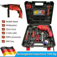 Schlagbohrmaschine TEETOK Bohrmaschine 650W Schlagbohrer 104-teilig mit Koffer