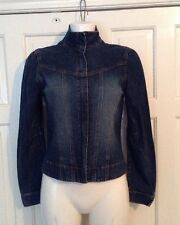 IMMACULATE MOTO TOPSHOP BLUE CROPPED DENIM  JACKET ZIPPED FRONT UK 10