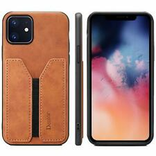iPhone 11 Wallet Case Slim Credit Card Slot Holder PU Leather MEN WOMEN Brown