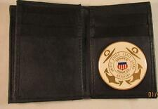 USCG US COAST GUARD AUXILIARY BLACK LEATHER THIN BIFOLD 20 CREDIT CARD WALLET ID