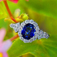 Gorgeous Oval Cut Sapphire Wedding Engagement Ring 925 Silver Bride Jewelry Gift
