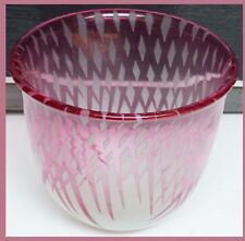 Nielsen Engebretson Sculpture Art Glass Vase Bowl Red Pink Diamond Hand Made USA