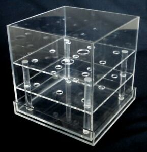 CLEAR ACRYLIC 9 HOLE FLOWER WATER HOLDER SQUARE VASE