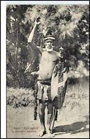 Afrika Natives Einheimische ZULU Stamm Häuptling Salute Vintage Postcard Africa