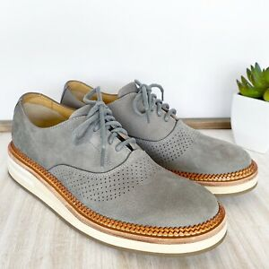 SPERRY Top-Sider Men's Size 8.5M Gray Suede Perforated Seaford Oxfords Ortholite