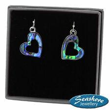 Heart Earrings Paua Abalone Shell Womens Silver Fashion Jewellery 22mm Drop
