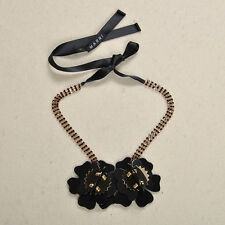 MARNI BEAUTIFUL DUAL BLACK GOLD FLOWER HORN NECKLACE – NEW DUSTBAG