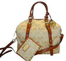 "Michael Kors Bedford Signature Convertible ""bowling bag"" Satchel w Free Wallet"