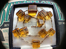 RARE Vintage Art Deco 30s Amber Gold Glass Cube Beads Necklace Rolled Gold. Gift