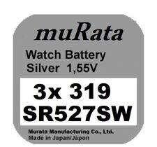 3x Murata/Sony 319 Uhren-Batterie Knopfzelle SR527SW Silberoxid Blisterware Neu