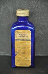 Vintage Aludrox Amphoteric Gel Ad Unique Shape Cobalt Blue Glass Bottle , London