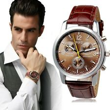 Men's DESIGNER Tachymeter Chronograph Sports Watch With Crocodile Leather Strap