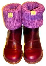 EL NATURALISTA Purple Chunky Leather Sock Boots Rubber Sole & Heel UK 6 EUR 39