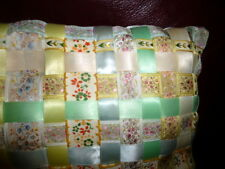 "LOVELY Satin Embroidered Ribbon Pillow Cottage 15"" x 15"""