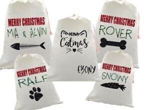 Personalised glitter pet santa sack xmas eve bag christmas cat dog bunny rabbit