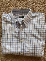 Canali Sportswear XL Button Down Shirt Blue White Plaid 100% Cotton