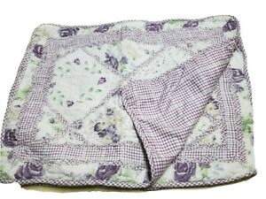 """LIL' DOLLYS  2pc Patchwork Quilted Pillow Shams Set 20""""x26"""" PURPLE FLORAL"""