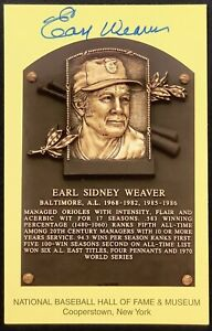 Earl Weaver Signed Gold HOF Plaque Postcard Yellow Autograph BAL Orioles WSC JSA
