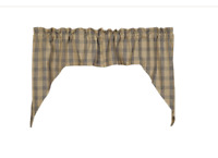 New Farmhouse Primitive Oat COUNTRY BLUE CAFE SWAGS Window Curtains