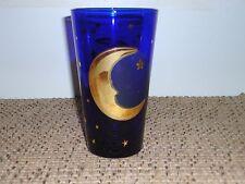 CULVER COBALT BLUE MOON AND STARS TALL GLASS TUMBLER