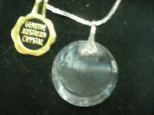 Silver Tone Genuine Australian Crystal Necklace 17 inch Box Chain Vintage NEW
