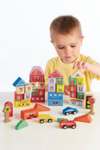 40 Pieces  WOODEN TRAIN SET ACCESSORIES , SIGNS, BUILDINGS, CARS,